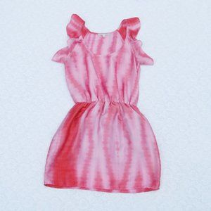 COLLECTIVE CONCEPTS Pink Tie Dye Ruffle Slv Dress